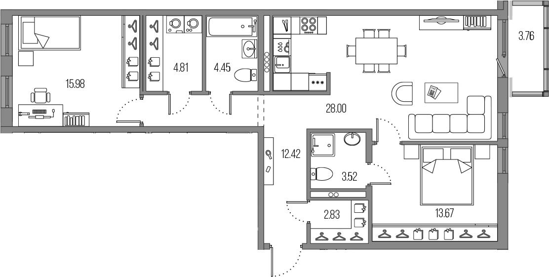 3-к.кв (евро), 89.44 м²