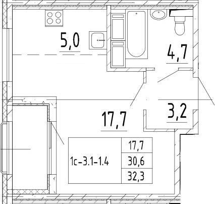 Студия, 32.3 м², 13 этаж