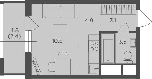 Студия, 24.36 м²