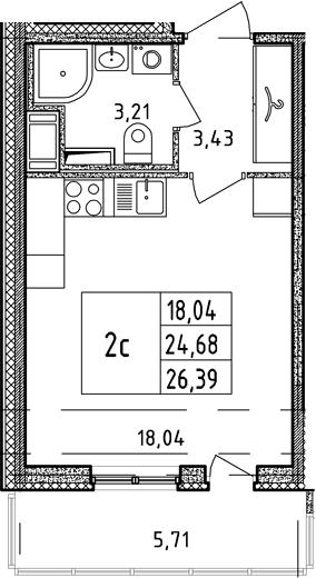 Студия, 24.68 м²– 2