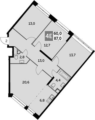 4Е-комнатная квартира, 87 м², 2 этаж – Планировка