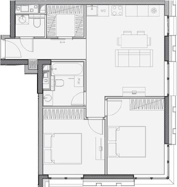 Свободная планировка, 59.2 м²– 2