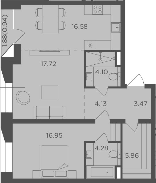 2-комнатная квартира, 73.97 м², 6 этаж – Планировка