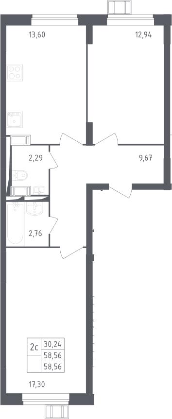2-к.кв, 58.56 м²