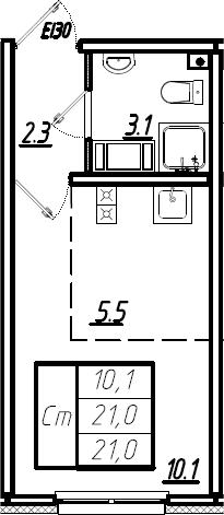 Студия, 21 м², 20 этаж – Планировка