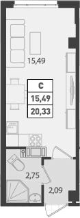 Студия, 20.33 м², 10 этаж