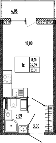 Студия, 28.15 м²
