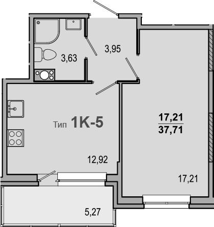 1-к.кв, 42.98 м²