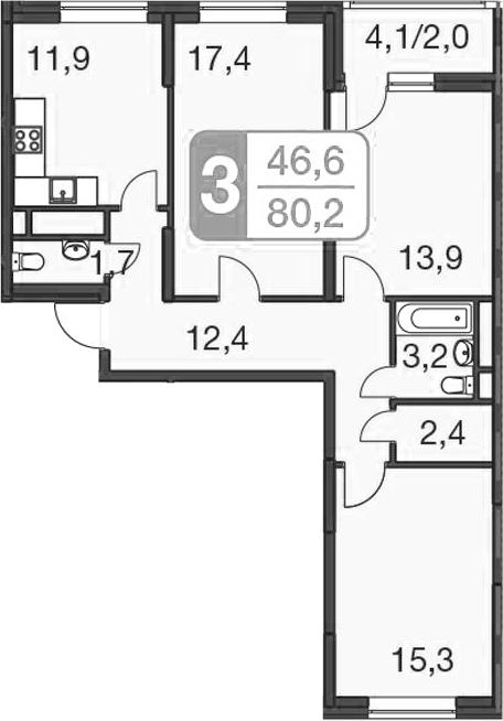 3-комнатная, 80.2 м²– 2