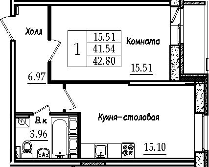 2-к.кв (евро), 44.06 м²
