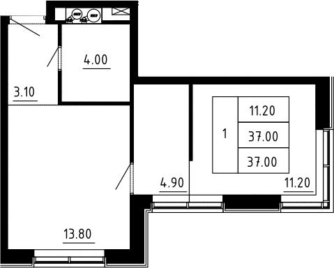 1-к.кв, 37 м², 5 этаж