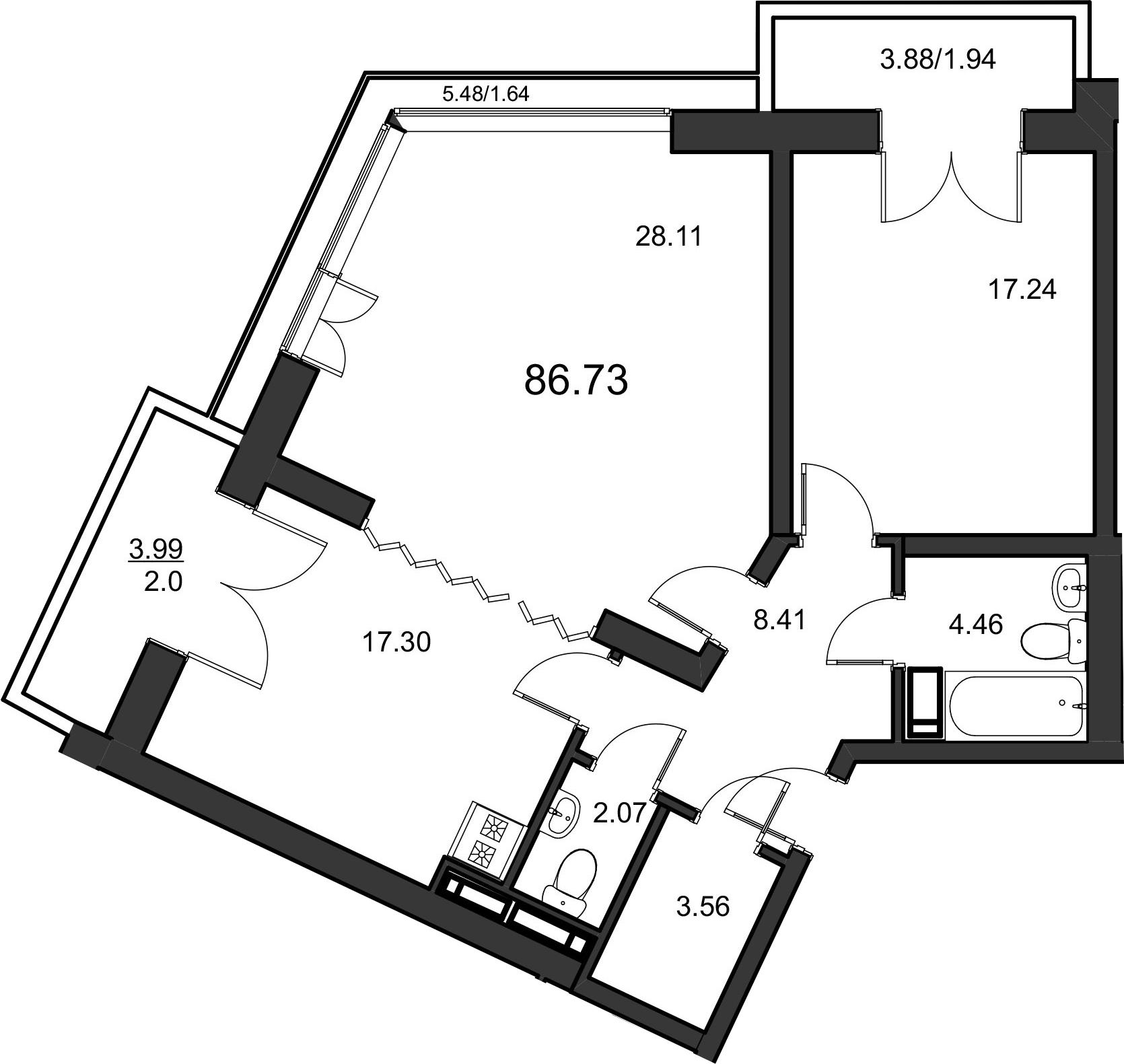2-комнатная, 85.1 м²– 2