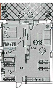2-к.кв (евро), 69.65 м²