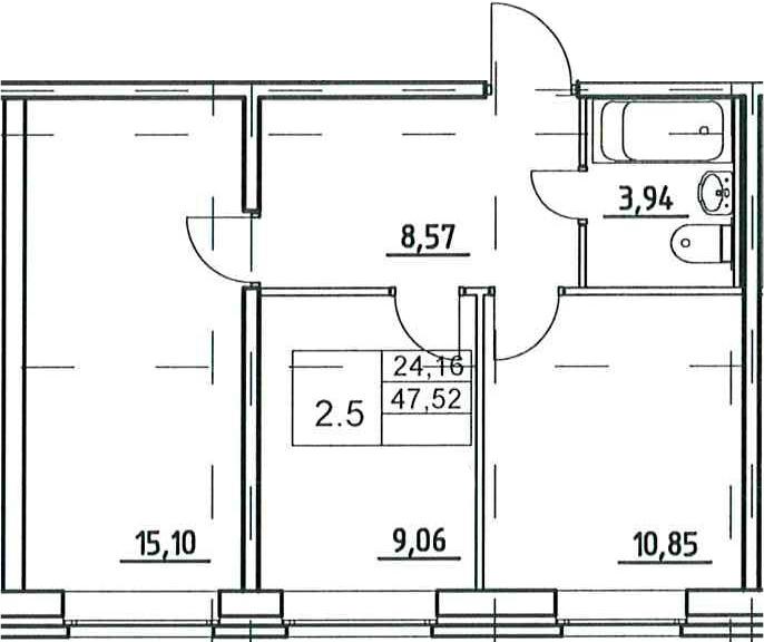 2-к.кв, 47.52 м²