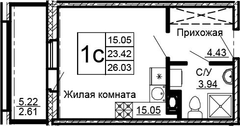 Студия, 28.64 м²