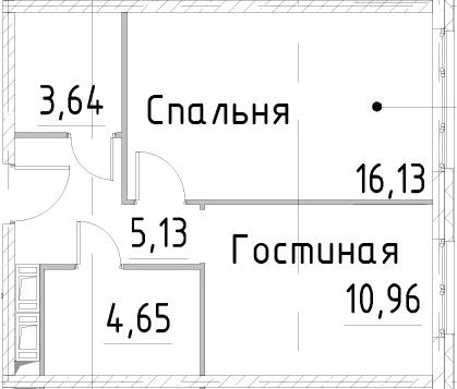 1-к.кв, 40.5 м², от 23 этажа