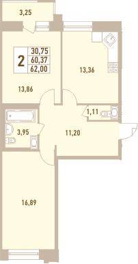 2-к.кв, 63.62 м²