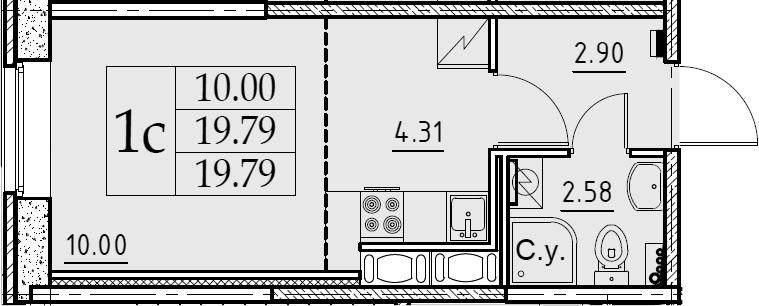 Студия, 19.79 м²– 2