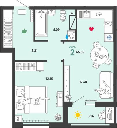 2Е-к.кв, 46.09 м², 7 этаж