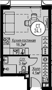Студия, 24.1 м², 16 этаж