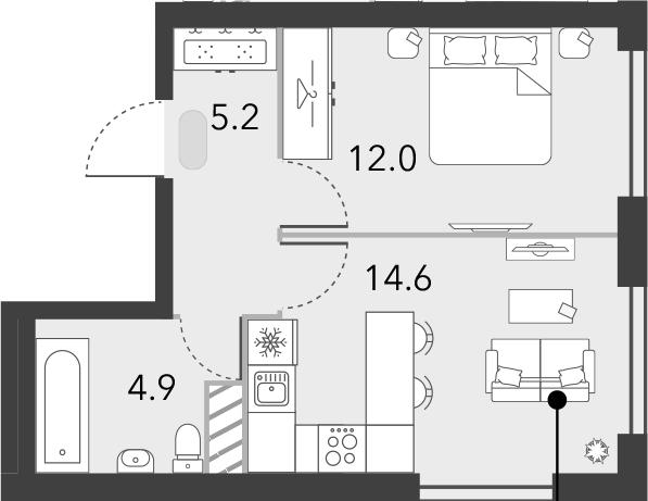 1-к.кв, 36.7 м², 15 этаж