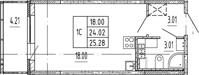 Студия, 24.02 м²