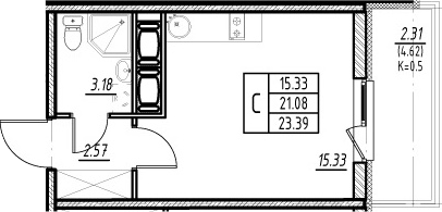 Студия, 21.08 м²– 2