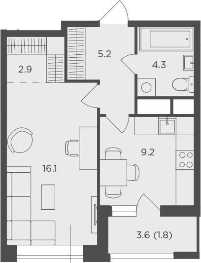 1-к.кв, 39.5 м², от 10 этажа