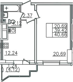 1-комнатная, 40.66 м²– 2
