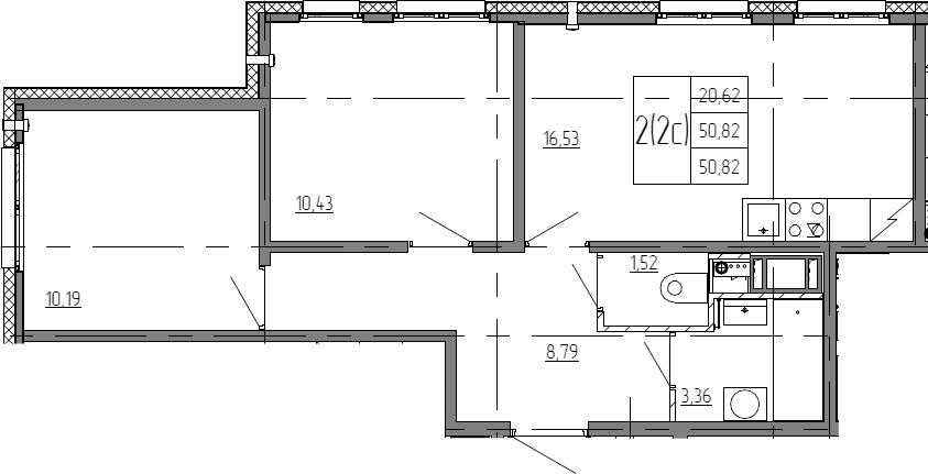 3Е-к.кв, 50.82 м²