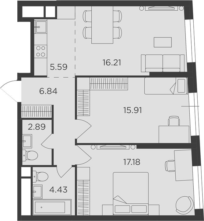 3Е-комнатная, 69.05 м²– 2