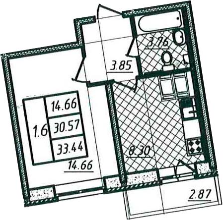 1-к.кв, 30.57 м²
