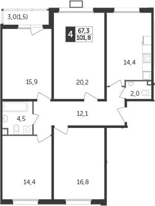 4-к.кв, 101.8 м²