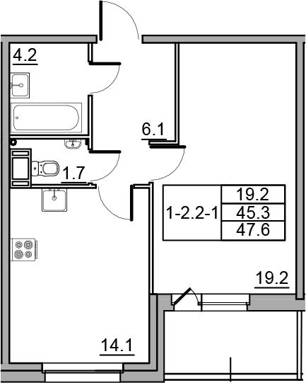 1-к.кв, 47.6 м², 7 этаж