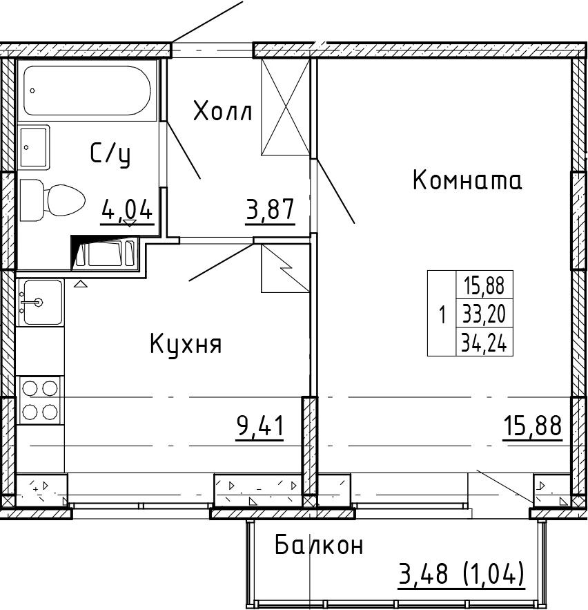 1-к.кв, 34.24 м²
