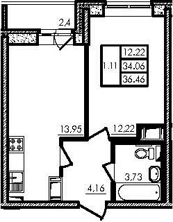 2Е-к.кв, 34.06 м²