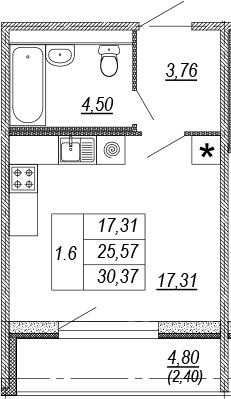 Студия, 25.57 м², 2 этаж