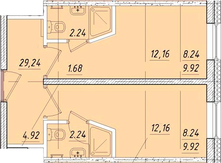 Студия, 29.24 м²