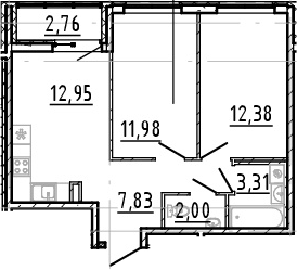 3Е-к.кв, 50.45 м², от 2 этажа