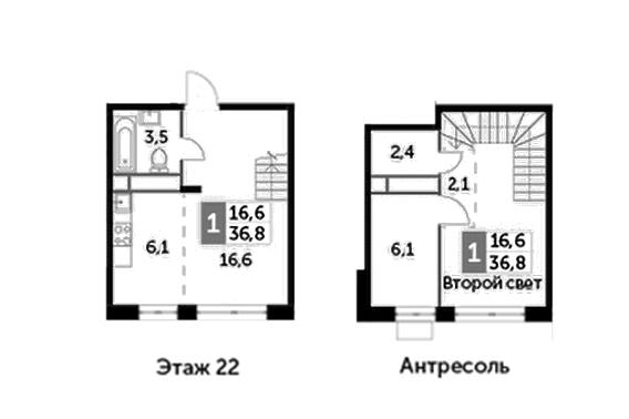 1-комнатная, 36.8 м²– 2