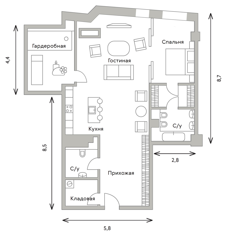 2Е-комнатная, 111.6 м²– 2