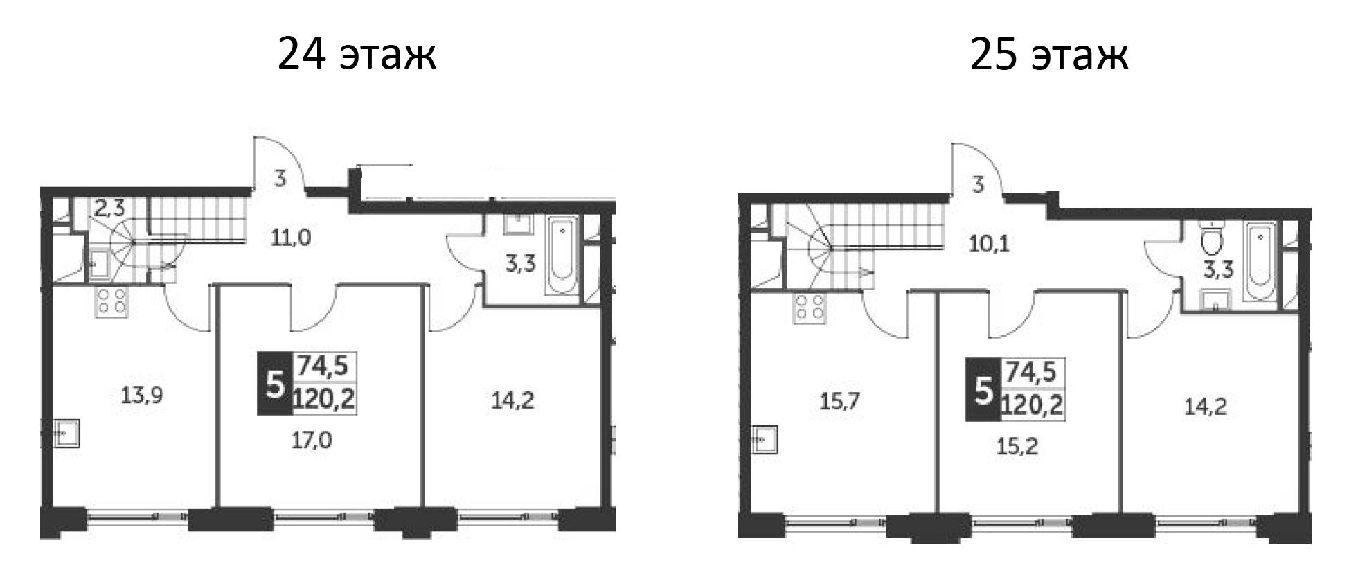 5-комнатная квартира, 120.2 м², 24 этаж – Планировка