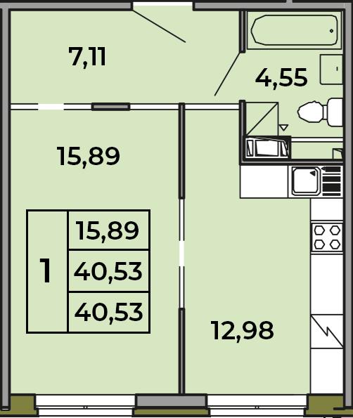 1-комнатная, 40.53 м²– 2