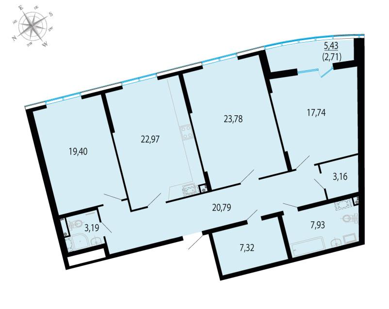 3-к.кв, 131.7 м²