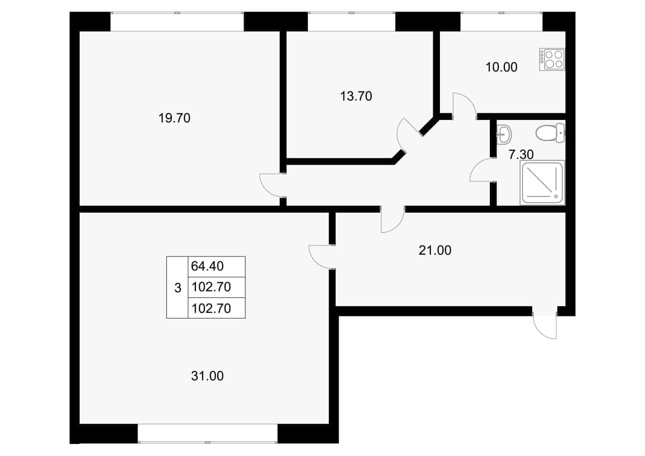 3-к.кв, 102.7 м²