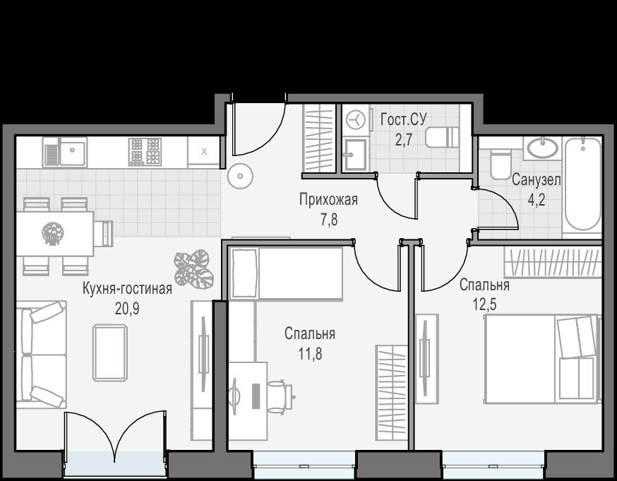 3-к.кв (евро), 59.9 м²