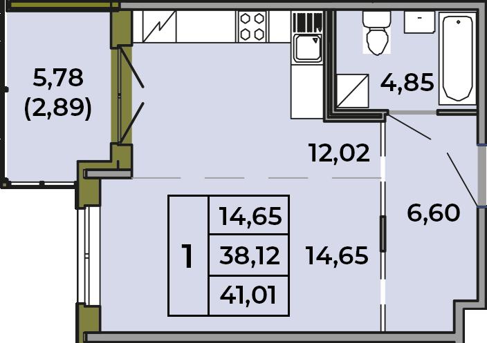 Студия, 38.12 м², 1 этаж