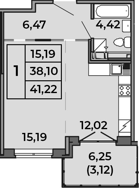 Студия, 38.1 м², 4 этаж