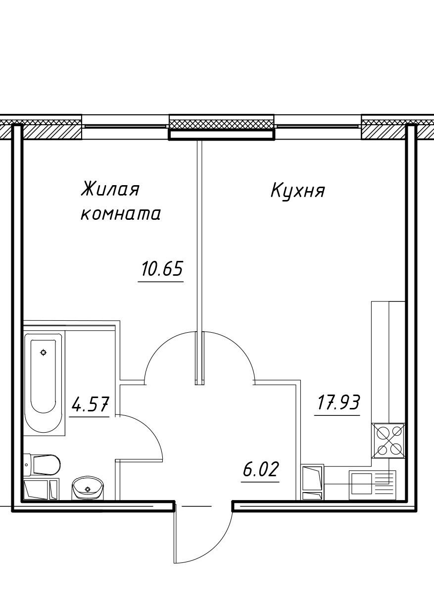 2-к.кв (евро), 39.17 м²