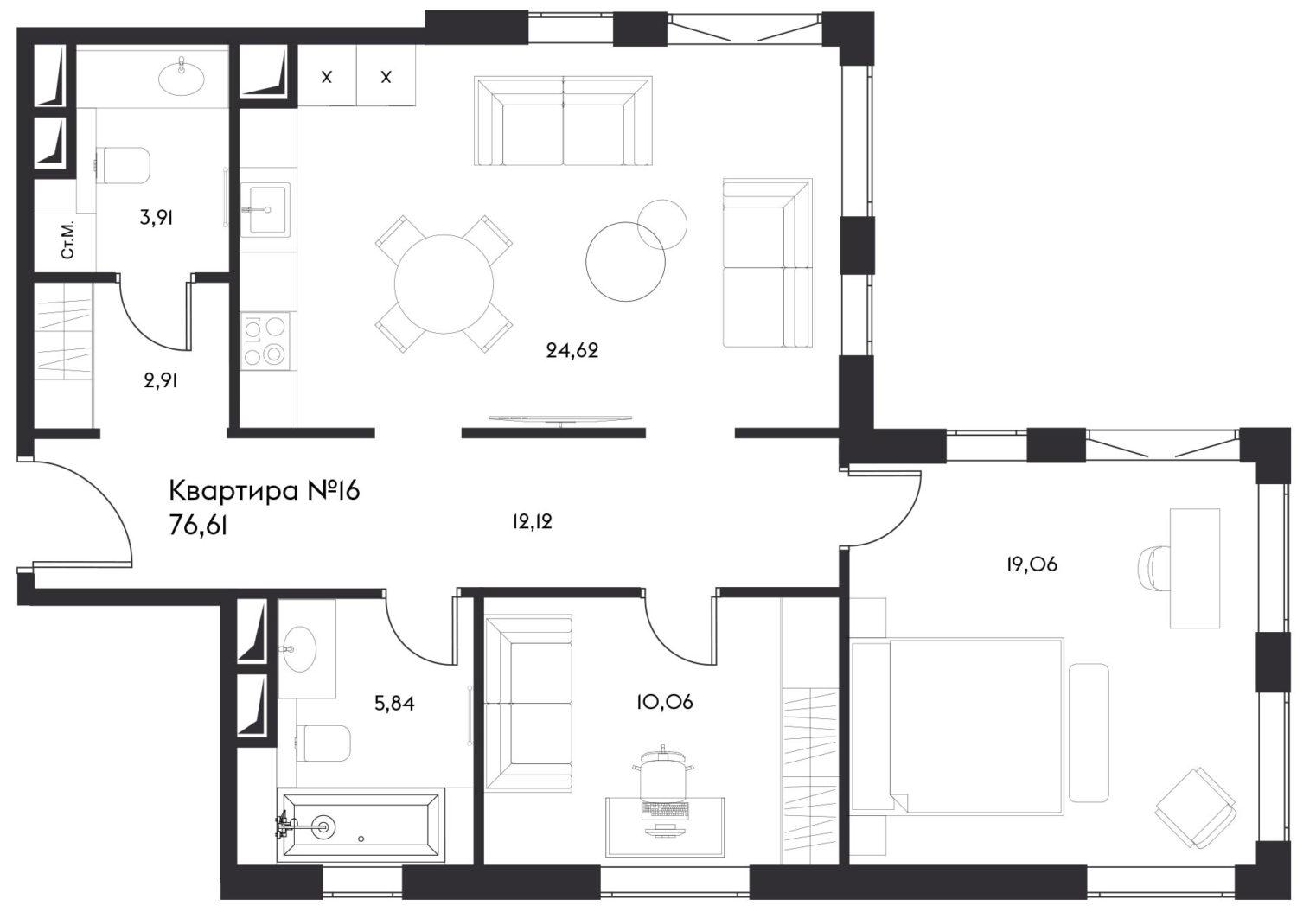 3Е-к.кв, 76.61 м²